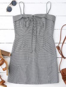 Houndstooth Lace Up Slip Mini Dress