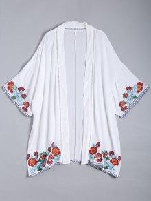 Embroidered Open Front Kimono Blouse - White S