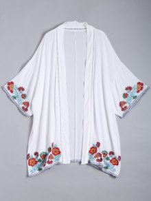 Embroidered Open Front Kimono Blouse