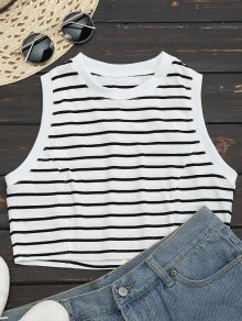 Sports Cropped Stripes Tank Top - Stripe M