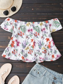 Floral Button Up Off Shoulder Top - White L