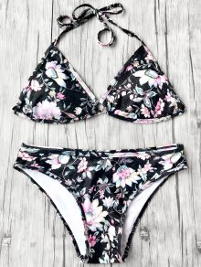 Halter Plunge Floral Bikini Top and Bottoms