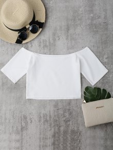 Cropped Cotton Off Shoulder Top