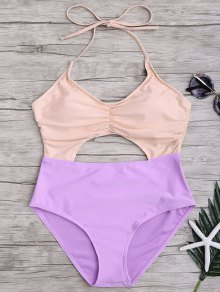 Ruched Color Block Cutout One Piece Swimsuit - Pink And Purple L