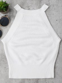Knitting High Neck Tank Top - White S