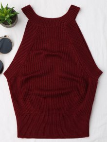 Knitting High Neck Tank Top