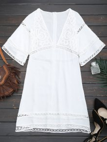 Crochet Plunge Beach Kaftan Cover Up - White S
