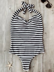Open Back Striped Padded One Piece Swimsuit - White And Black S