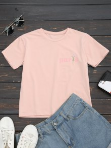 Cotton Letter Rose Embroidered T-Shirt