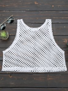 Cropped Fishnet Cut Out Tank Top