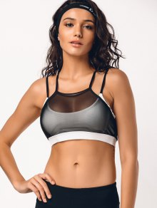 Criss Cross Padded Mesh Sporty Bra
