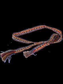 Étnico retro tejido con franjas cintura correa