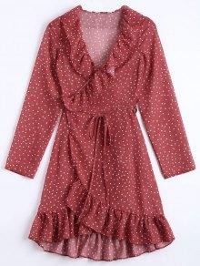 Star Print Ruffle Hem Wrap Dress