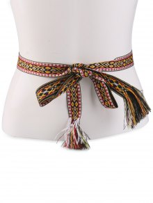 Ethnic Retro Woven Fringed Waist Strap - Brown