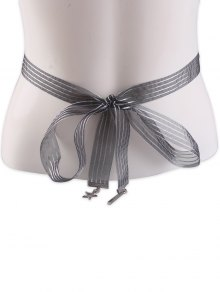 Metal Pentagram Embellished Ribbon Waist Strap