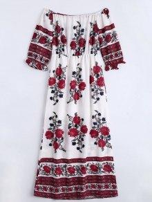 Slit Floral Print Off The Shoulder Dress