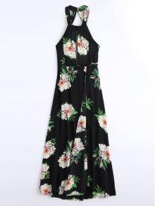 Floral Print High Slit Backless Maxi Dress
