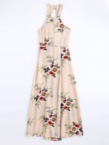 Floral Print High Slit Backless Maxi Dress