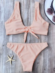 Knotted Scoop Bikini Top And Bottoms - Pink M