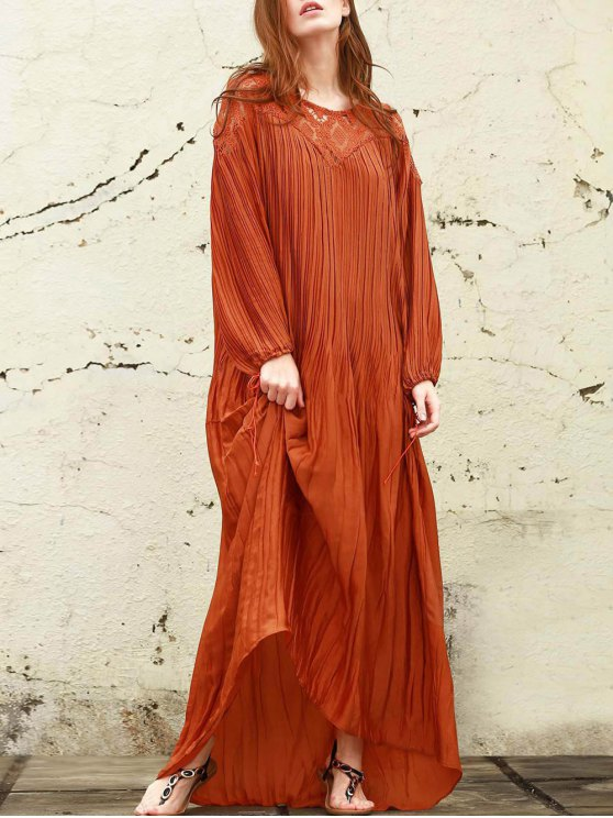 fashion Sateen Puff Sleeve See-Through Maxi Dress - DARKSALMON M