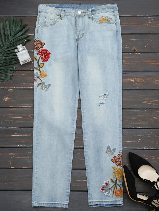 women's Ripped Floral Embroidered Narrow Feet Jeans - DENIM BLUE L