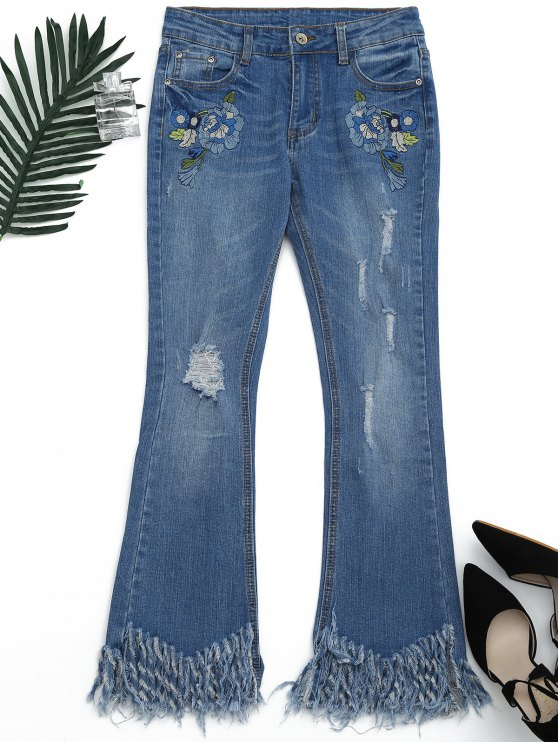 hot Distressed Embroidered Cutoffs Flared Jeans - DENIM BLUE S