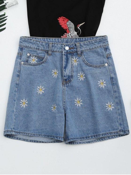 Pantalones cortos bordados margarita de alta cintura - Denim Blue M