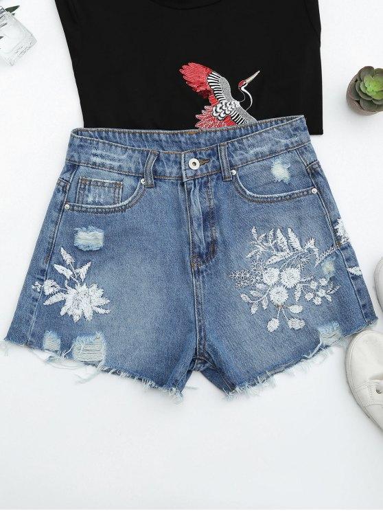 Cutoffs Ripped Floral Denim Shorts Bordado - Denim Blue L