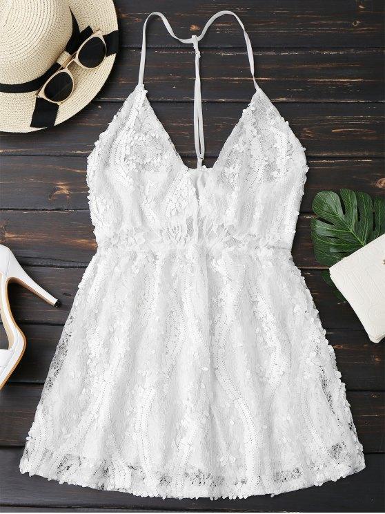 Vestido de Encaje con Lentejuelas con Tirante Fino - Blanco L