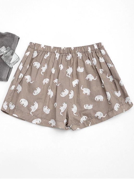 fancy Pockets Elephant Print Loungewear Shorts - LIGHT KHAKI L
