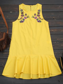 Ruffles Floral Embroidered Casual Dress - Yellow M