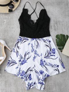 Lace Panel Printed Open Back Romper - Black S