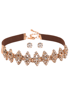 Faux Suede Hollow Out Rhinestone Choker Set - Golden