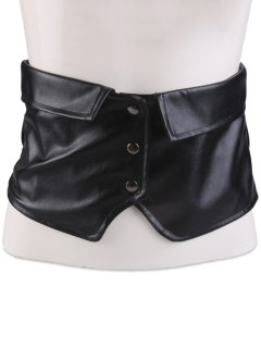 Wide Elastic Snap Button Corset Belt - Black