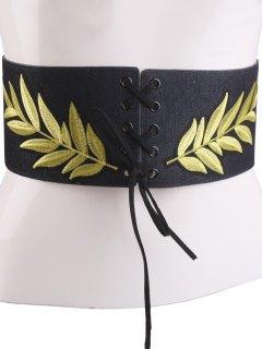 Lace Up Leaf Embroidery Wide Corset Belt - Black