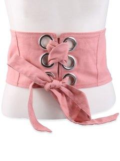 Lace Up Snap Button Wide Corset Belt - Pale Pinkish Grey