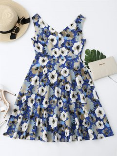 Notched Collar Flower Flare Dress - Floral Xl