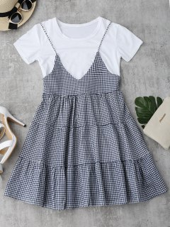 Plain Tee With Checked Cami Dress Set - Checked