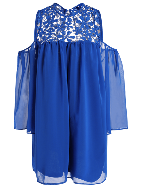 outfits Cold Shoulder Lace Chiffon Tunic Blouse - BLUE L Mobile