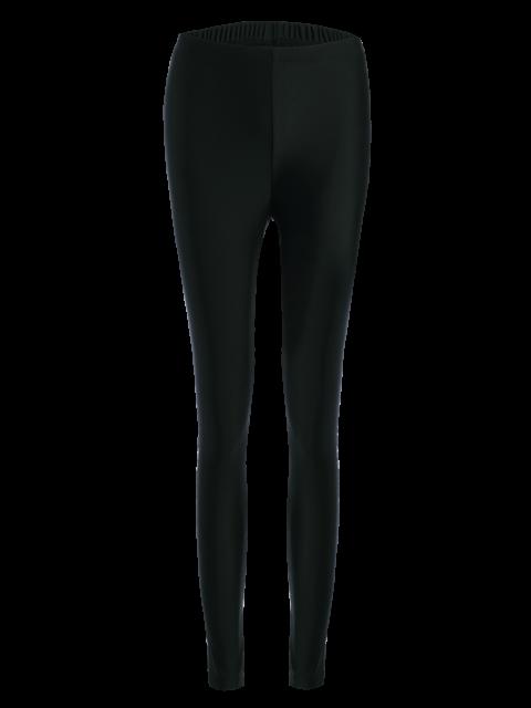 ladies Stretchy Letter Pattern Leggings - BLACK L Mobile