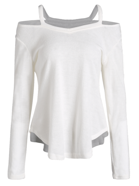 shop Cut Out Pullover Sweater - WHITE XL Mobile