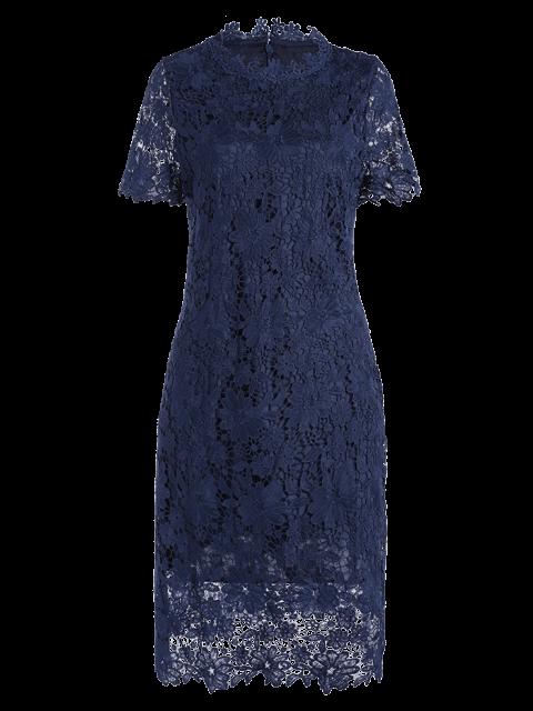 unique Ruff Neck Sheath Lace Prom Cocktail Dress - PURPLISH BLUE L Mobile