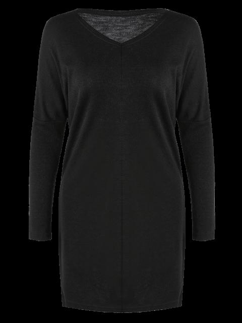 shops V Neck Batwing Sleeve Sweater - BLACK M Mobile