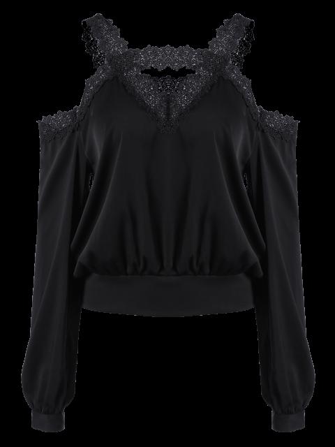 new Cold Shoulder Lace Panel Blouse - BLACK S Mobile