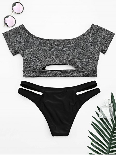 best Cut Out Space Dyed Bandage Bikini - GRAY L Mobile
