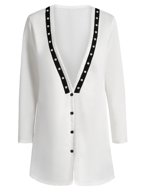 fancy Plunging Neck Button Down Beaded Cardigan - WHITE L Mobile