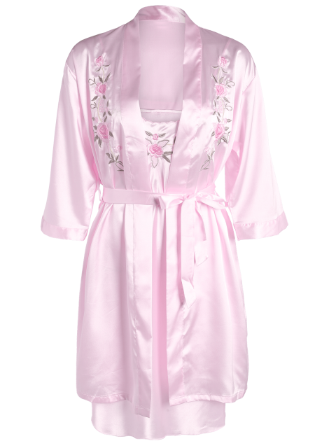 women Embroidered Babydoll and Fitting Wrap Robe - LIGHT PINK M Mobile