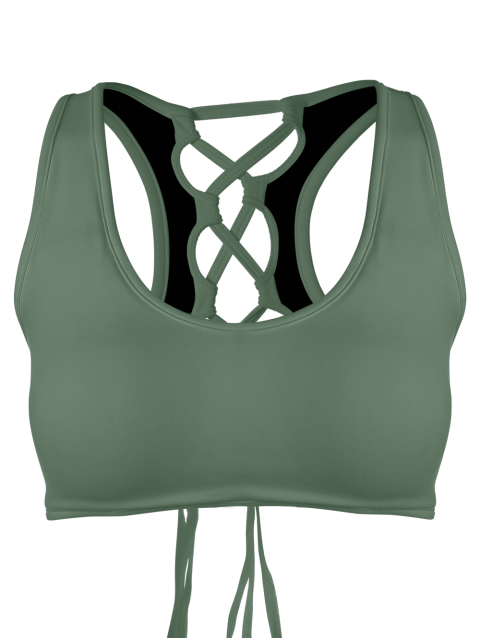 sale Scoop Back Lace Up Padded Sporty Bra - ARMY GREEN L Mobile