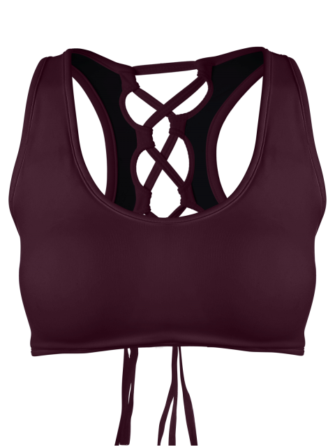 chic Cut Out Back Lace Up Padded Sporty Bra - BURGUNDY L Mobile