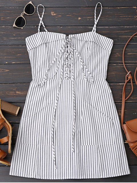 women Lace Up Stripes Mini Dress with Two Pockets - STRIPE S Mobile